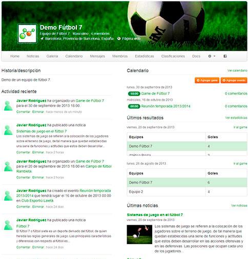Página del equipo