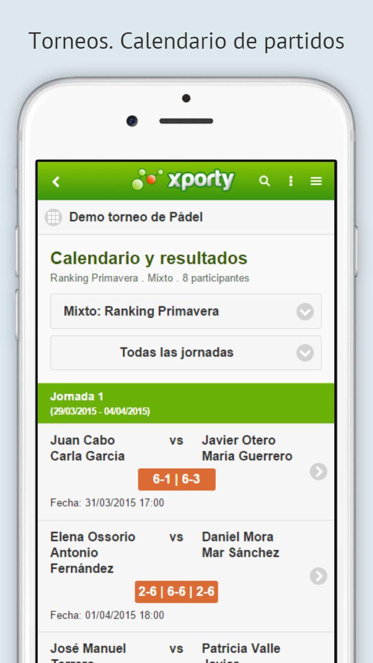 Vista del calendario en aplicación móvil.